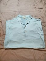 Mens PETER MILLAR  Polo Golf Shirt Size XL blue white striped made in Korea