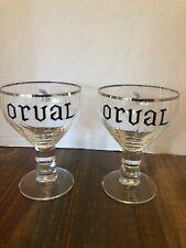 New listing Pair Orval Bier Stemmed Belgian Beer Goblet Glass Chalice w/ Silver Rim