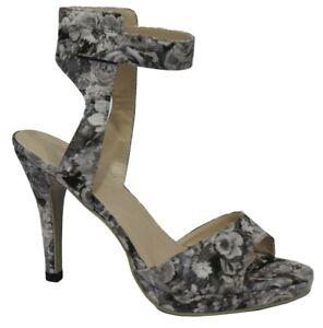 Ladies Floral Ankle strap Sandals Shoes Heels GREY Size 7