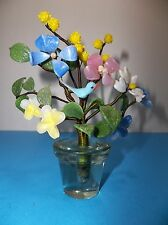Vintage Murano Italian Art Glass FLOWERS In Glass Pot BLUEBIRD