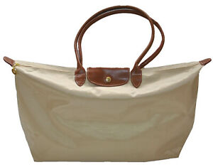 Womens Girls Nylon Tote Shopper School Foldable Bag Size XLarge Beige