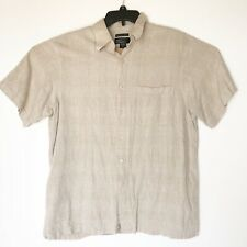 Marc Edwards Linen Shirt Button Front Pocket Washable Short Sleeve Tan Beige