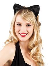 Chat Oreilles Serre Tête Bandeau Noir Déguisement Velours Accessoire Cosplay Kit
