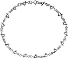 Sterling Silver Link Anklet Love Intertwine Heart .925