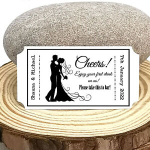 """Ticket Style """"Free Drink"""" Tokens For Weddings! Personalised - 3 Designs"""