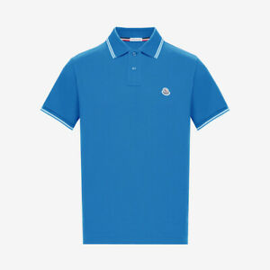 Moncler 2-Button Polo Shirt with Contrast Trim - Pastel Blue