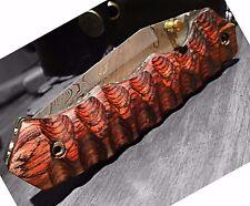 Hand Made Damascus folding knife LAGUIOLE Style Red Wood Pocket Knife