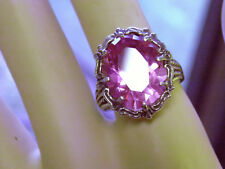 12ct pink sapphire antique 925 sterling silver filigree ring size 6 USA made
