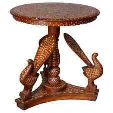 Indian Marquetry Carved and Inlaid Figural Peacock Side Table, circa 1910