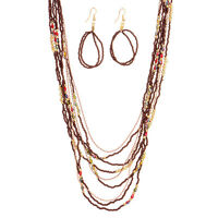 "38"" Brown Red Bead Multi Strand Gold Layering Necklace & Earrings Jewelry Set"