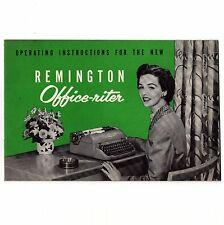 OFFICE RITER INSTRUCTION MANUAL Remington Typewriter Rem Rand User Operating Vtg