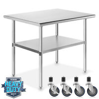 """Stainless Steel 24"""" x 36"""" NSF Commercial Kitchen Work Food Prep Table w/ Casters"""