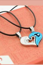 Couples his and her Heart Stainless Steel Blue & Silver pendant black cord