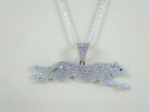 Panther/Puma LAB DIAMOND ITALIAN NECKLACE Rhodium-plated 925 Sterling Silver
