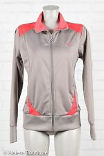 Puma woman's jacket size L gray red zip front pockets athletic sport casual