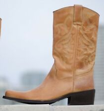 ALDO Tan Brown Leather Western Cowboy Block Heel Mid Calf Boots Womens 41 10 9