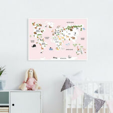 Children's A1 Pink Animal Map of the World Poster Print Wall Art for Nursery