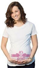 Maternity It's a Girl Pink Bow Announcement Tee Pregnancy T shirt