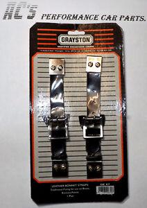 Black Leather Bonnet Straps - Pair - Mini's Vintage & Historic Racers - (GE67)