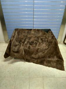Luxury Brown Astrakhan Skin Fur Throw Real Lamb Fur Blanket / Bedspread
