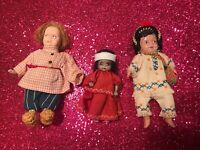 3 VINTAGE SMALL DOLLS WITH HANDMADE CLOTHES