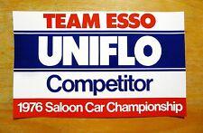 Team Esso Uniflo 1976 Saloon Car Championship Race Competitor Sticker / Decal