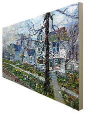 "4ft-48"" ORIGINAL OIL PAINTING ORIGINAL HOUSE LANDSCAPE CITYSCAPE VICTORIAN LARGE"