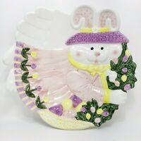 """12"""" Vintage  Bunny Easter Figurine Luncheon Plate Glazed Porcelain Hand Painted"""