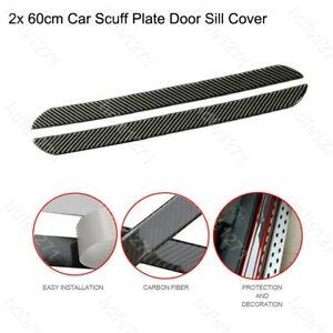 2x 60cm Carbon Fiber Car Door Scuff Plate Sill Cover Panel Guard Step Protector