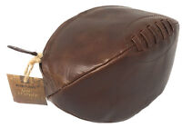 Rugby Ball Shaped Wash Bag Toiletry Bag 100% Leather