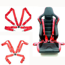 1PC 4-point Sport Racing Safety Seat Belt Red Nylon Strap Adjustable For Car SUV