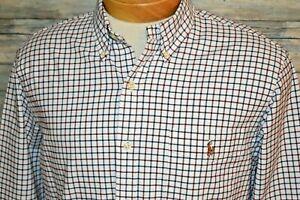 RALPH ALUREN SLIM FIT STRETCH OXFORD Large Men's L/S Button Down Shirt Plaid