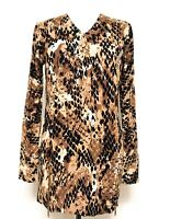 WOMEN'S RUTH LANGSFORD BROWN SNAKE PRINT ZIP SIDE JUMPER SWEATER TOP SMALL BNWOT