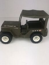 Vintage Tonka Pressed Metal Army Military Green G-452-8 Jeep Truck 1970's