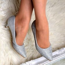 Ladies Silver Diamante Low Kitten Heel Pointed Toe Slip On Court Shoes Size 3-8