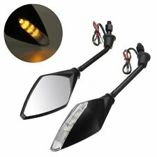 "2x 7/8"" Motorcycle Scooter Rearview Mirror & Light 8mm 10mm For Suzuki Honda KTM"