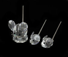 3 Swarvoski Crystal Mouse Family with Bobble Tail Figurines
