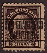 1917 US, 1$ stamp, Used, Benjamin Franklin, Sc 518b San Francisco Pre cancel