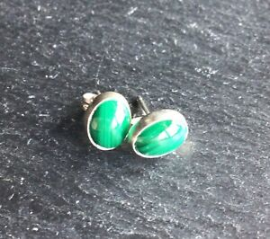 Malachite Sterling Silver 925 Earrings 8mm Oval Dreams Powerful Protection
