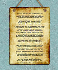 metal hanging sign IF Kipling poem inspiring motivational quote wall door plaque
