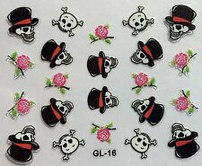 Nail Art 3D Decal Stickers Halloween Skull Roses GL16