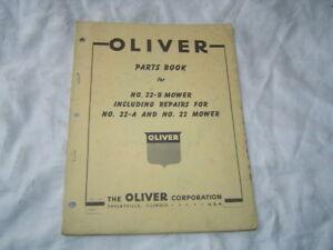 Oliver 22-B 22A mower parts book catalog manual with old oliver dealer sign logo