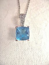 "Blue Topaz & Diamond Accent Square Pendant Necklace 14K White Gold 16"" Chain"