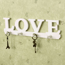 4Hooks White LOVE Coat Hat Clothes Robe Portachiavi Appendiabiti a muro Ho IT