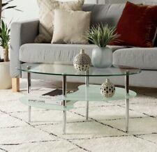 Modern Glass Oval Living Room Metal Coffee Table