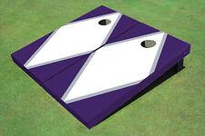 White And Purple Matching Diamond Custom Cornhole Board