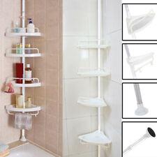 4 Tier Plastic Shower Corner Pole Caddy Bathroom Wall Shelf Storage Rack Holder