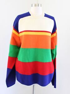 Vtg 90s J Crew Mens Wool Rainbow Color Block Striped Sweater Size L Tall LT
