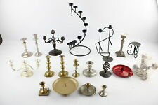 More details for job lot vintage assorted candlesticks inc pairs, brass, silver plate, candelabra