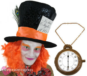 MAD HATTER HAT WITH WIG HAIR PLUS CLOCK NECKLACE FANCY DRESS COSTUME ACCESSORY
